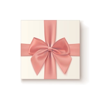 Realistic gift icon with pink bow isolated on white background.