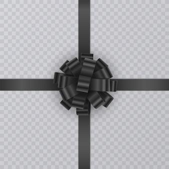 Реалистичная подарочная лента, черный бант