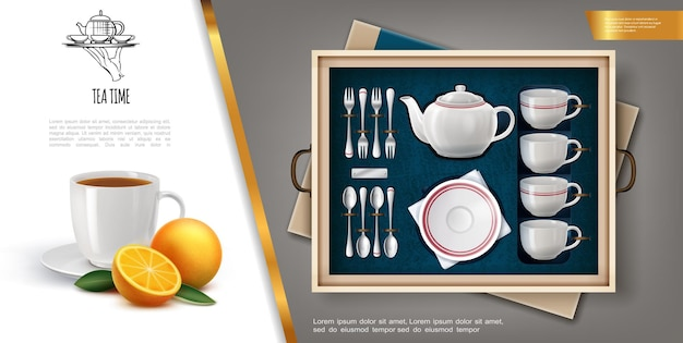 Realistic gift tea set concept with porcelain teapot cups plate silver cutlery ripe orange and teacup full of hot drink