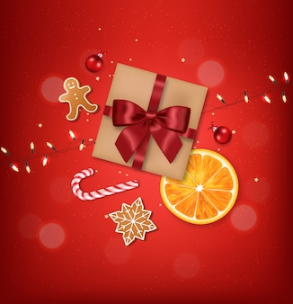 弓とボールの分離、赤い背景、生地の要素、クッキー、クリスマスのお菓子とオレンジ、メリークリスマス、お祝いの現実的なギフト
