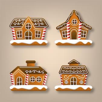 Реалистичная коллекция пряничных домиков