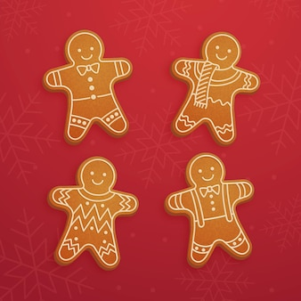Realistic gingerbread man cookie collection