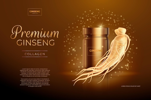 Realistic ginseng ad with golden particles