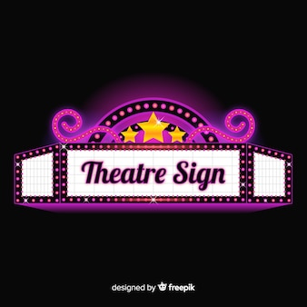 Realistic glamourous retro theatre sign