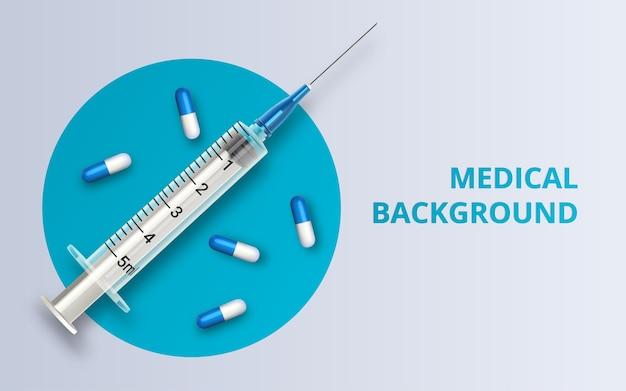Реалистичные стеклянные ампулы и шприц. инъекционная вакцина коронавирус covid-19, новый коронавирус.