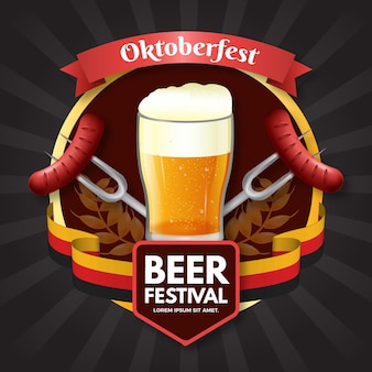 Realistic glass of beer for oktoberfest event