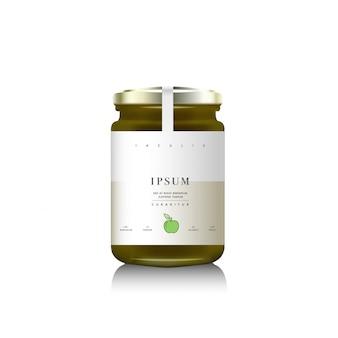 フルーツジャム用の現実的なガラス瓶包装。リンゴのジャムをデザインラベル、タイポグラフィー、緑のリンゴのアイコンでグリーンにします。