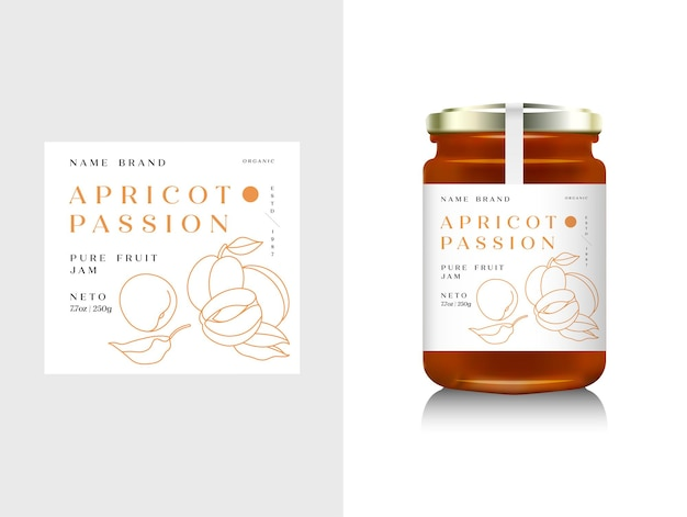 Realistic glass bottle packaging for fruit jam design. apricot jam with design label, typography, line apricots icon . mock up container or jar