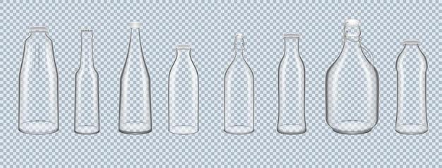 액체 알코올과 부드러운 알코올 음료를 보관하고 운반할 수 있는 현실적인 유리병 세트 항아리