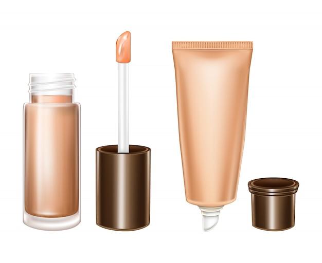 액체 립스틱과 보습 플라스틱 튜브와 현실적인 유리 병