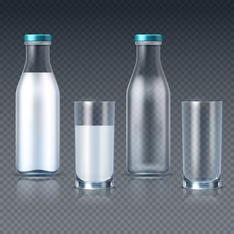 Realistic glass bottles and glasses with milk  templates isolated. drink milk container, fresh and dairy beverage for breakfast