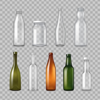 Realistic glass bottles transparent set