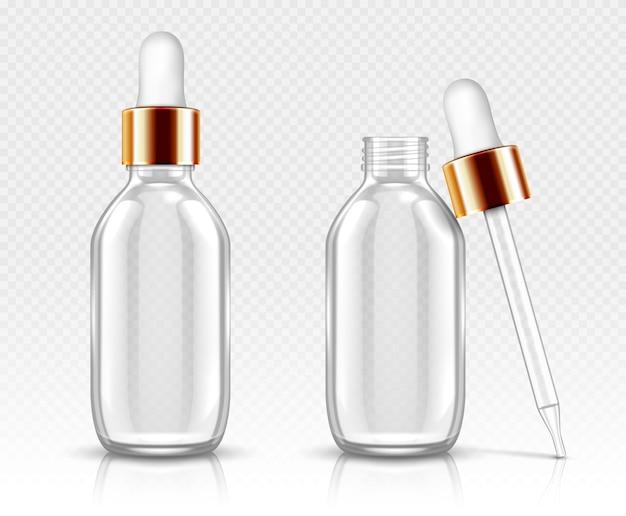 세럼이나 오일용 드로퍼가있는 현실적인 유리 병. 유기농 아로마 에센스 용 화장품 플라스크 또는 바이알, 뷰티 케어를위한 노화 방지 에센셜 콜라겐, 고립 된 투명 플라 콘 3d