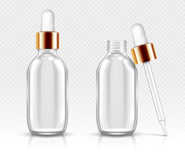 Realistic glass bottles with dropper for serum or oil. cosmetic flask or vials for organic aroma essence, anti-aging essential collagen for beauty care, isolated transparent flacon 3d