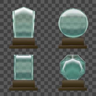 Realistic glass or crystal prizes set on transparent.