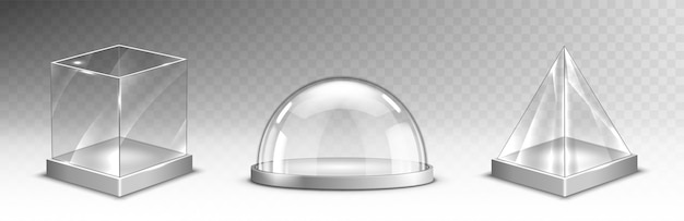 Realistic glass cube, pyramid, dome, christmas set
