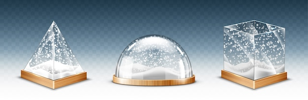 Realistic glass cube, pyramid and dome with snowflakes, christmas snow globe souvenirs isolated on transparent