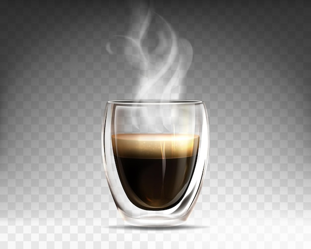 Realistic glass cup filled hot steaming coffee. mug with double wall full of aroma americano. espresso drink with smoke isolated on transparent background. template for advertising or product design.