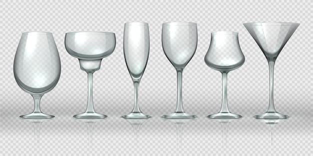 Realistic glass cups. empty transparent champagne cocktail wine glasses and goblets. realistic 3d crystal glassware design templates for alcohol cocktail whiskey beer and water