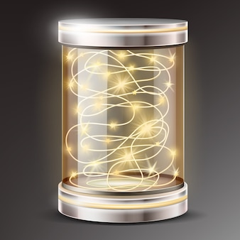 Realistic glass cylinder with light garland gift