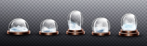 雪、クリスマスグローブのお土産、さまざまな形やサイズの銅または真鍮のベースにある孤立したクリスタルの半球コンテナを備えた現実的なガラスドーム。お祝いクリスマスギフトモックアップ、現実的な3 dセット