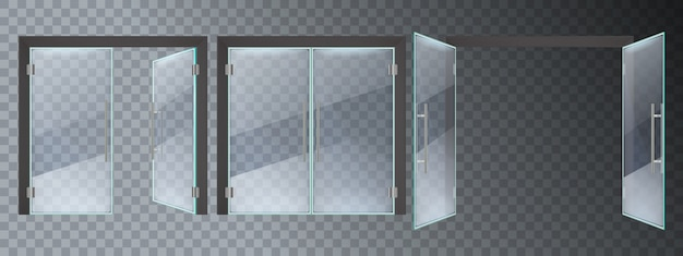 Realistic glass door. entrance modern glass doors, office or shop mall steel frame close and open doors  illustration set. entrance glass door, empty transparent enter