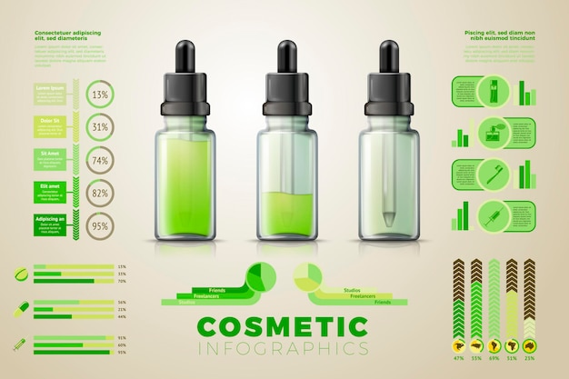 Realistic glass dropper bottles with liquid gel inside, with business infographics