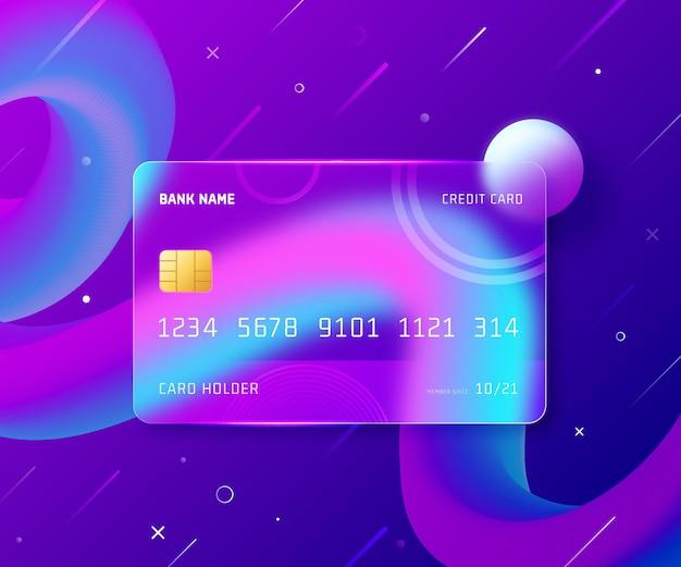 Реалистичная кредитная карта с эффектом стекла