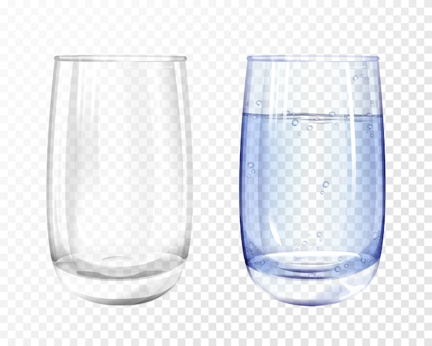 Realistic glass empty and cup with blue water on transparent background.