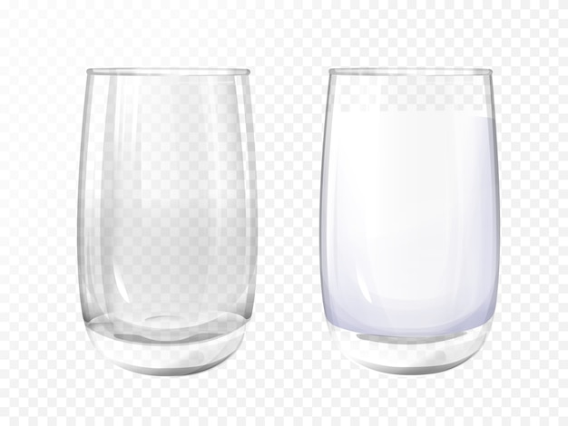 Realistic glass empty and milk cup on transparent background.