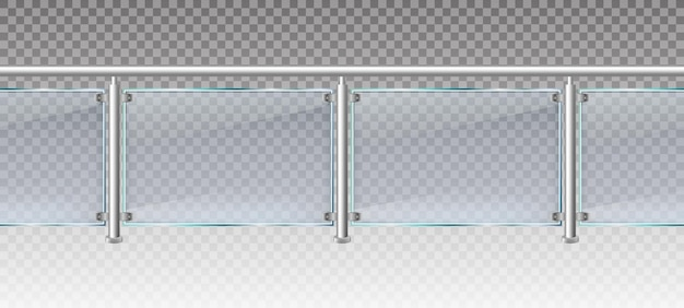 Realistic glass fence. glass balustrade with metal railings, balcony or terrace plexiglass fencing 3d