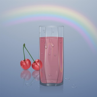 明るい背景にジュースで満たされたリアルなガラス、水滴のあるジュースで透明なガラス、