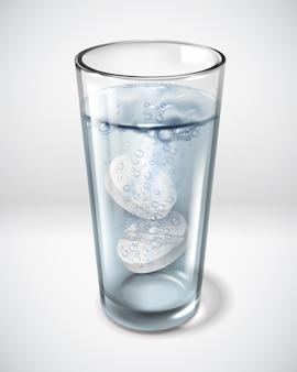 Realistic glass glasses effervescent pill water illustration