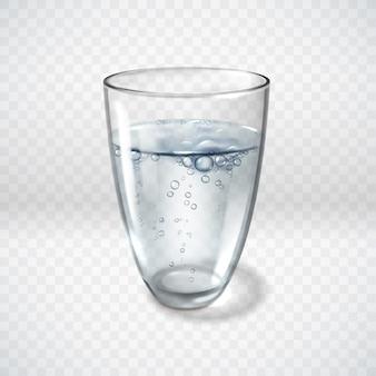 Realistic glass glasses water bubbles illustration