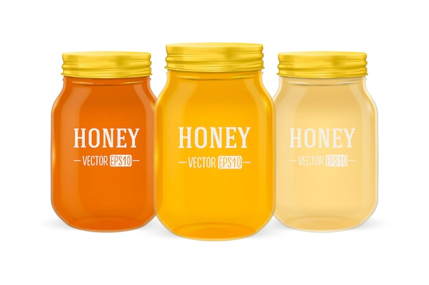Realistic glass jar of honey set with golden lid closeup isolated