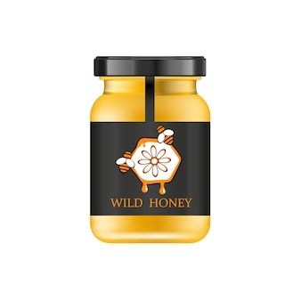 Realistic glass jar with honey. food bank.