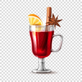 Realistic glass of mulled wine with orange slice dried anise star in hot cocktail christmas new year