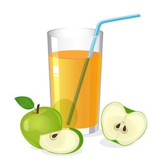 カクテルストローとリンゴジュースドリンクのリアルなグラス。リンゴの半分とスライスが白で分離されたジュース。フレッシュリフレッシュドリンク。ビタミンの自然な甘い部分。図