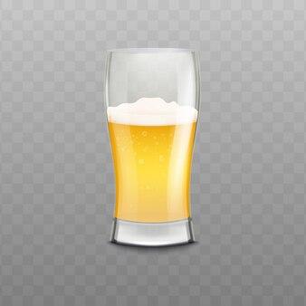 Реалистичный стакан пива с пеной