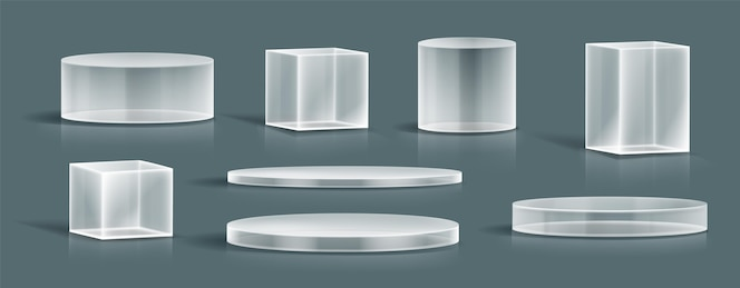- realistic glass podium collection