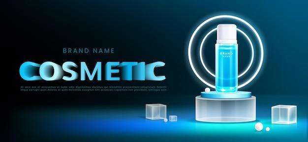 Realistic glass podium cosmetics ads