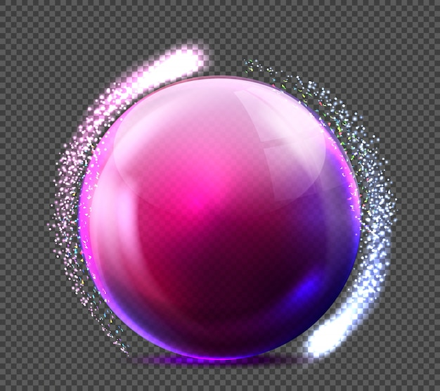 Realistic glass purple sphere with glittering light. glossy empty crystal globe