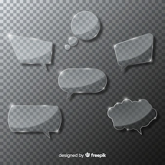 Realistic glass speech bubble collection
