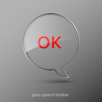 Realistic glass speech bubble illustration.