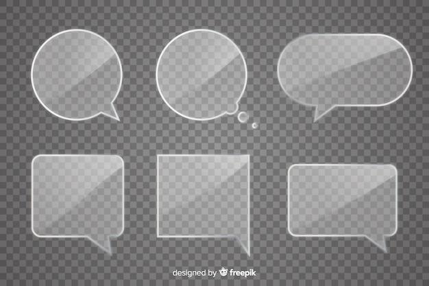 Realistico pacchetto di bolle di discorso di vetro