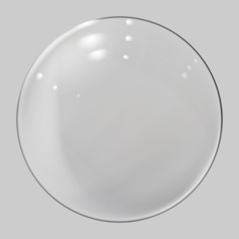 Реалистичная стеклянная сфера. прозрачный шар, реалистичный пузырь. вектор.