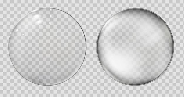 Реалистичная стеклянная сфера. прозрачный шар, реалистичный пузырь.