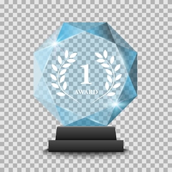 Realistic glass trophy award on transparent background