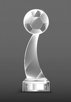 Realistic glass trophy awards for soccer