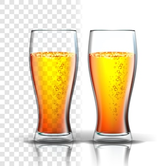 Realistic glass with bubbles lager beer